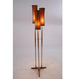 Zweedse Vloerlamp met 3 kappen teak & messing