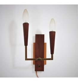 Teak brass vintage wall lamp with two lamps