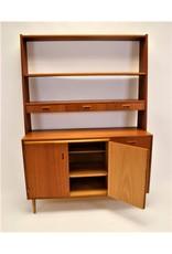 Deens wandkast met bureaublad en afneembaar boekenrek teak