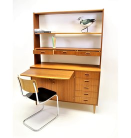 Danish wall cupboard with desktop and removable teak bookshelf