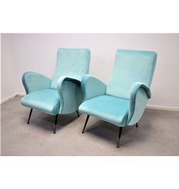 Italian design armchair chairs sky blue from the 1950's