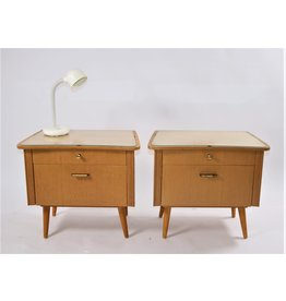 German design bedside tables with glass top set of 2