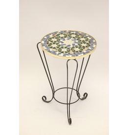 Round Vintage Mosaic Plant Table Black blue