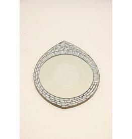 Oog model Mozaieke Wandspiegel met witte glazen steentjes