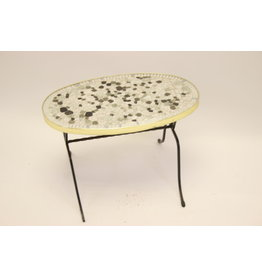 Elongated round mosaic table or plate table