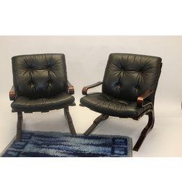 Leren  set Kengu lounge chairs van Elsa & Nordahl Solheim voor Rybo Rykken & Co
