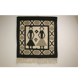 Danish Handwoven Tapestry or Wall Carpet 1960s Black and White