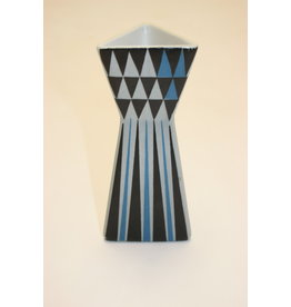 Lars Thorén, Rörstrand model Polaris Gekleurde Driehoek vaas Blauw grijs zwart 1950 nr 6