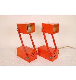 Vintage oranje nachtlampjes van metaal ontwerp Verner Panton