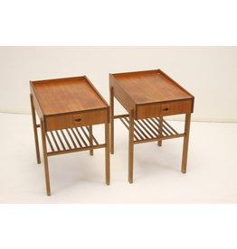 Teak houten zweedse nachtkastjes jaren 60