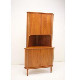 Teak wooden Danish corner cupboard