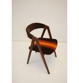 Bureaustoel deens design met bruin/oranje stof