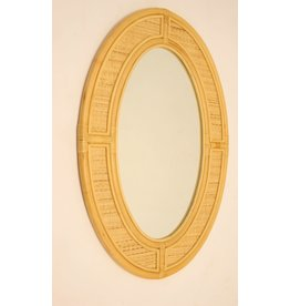 Large Oval Vintage Bamboo Wall Mirror