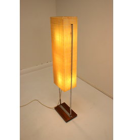 Large floor lamp with chrome base and glass fiber shade