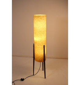 Large Yellow Rocket floor lamp with glass fiber shade