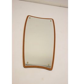 Danish Wall Mirror with Teak Edge and gold buttons