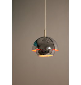 Chrome space age hanging lamp with orange