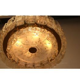 2 Gouden Doria hanglampen met dubbelen Rand ijspegels  47 cm