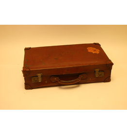 Old leather English travel case with sticker
