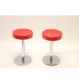 Set of 2 stools red seat with chrome
