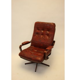 Swedish Red Leather Patches Armchair Rotatable