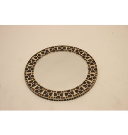 Round mirror with brown tiles