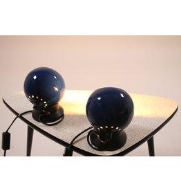 Blauwe Bol Magneet Lampje met zwarte voet set van twee