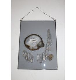 Raamdecoratie glas met natuursteen maat 50 cm