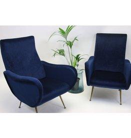 Set van 2 Marco Zanuso stoelen fluweel blauw