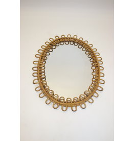 Oval vintage bamboo mirror