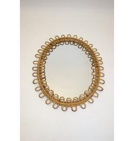 Ovale vintage bamboo spiegel