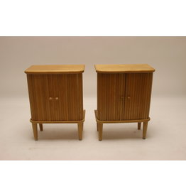 Set of bedside table with roller doors made of beech wood