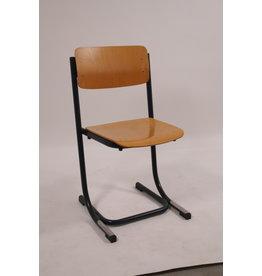 School stoel  Stapelbare hout blauw frame