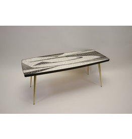 berthold muller coffee table Mozakie Glazen Salontafel met Messingen poten
