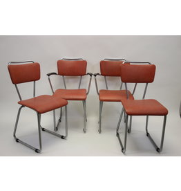 Gispen tubular frame dining room chairs by Christoffel Hoffmann model 114 and 214