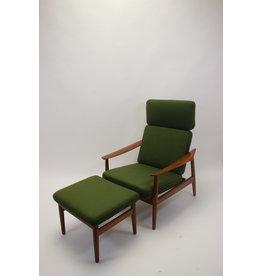 Arne Vodder relax stoel met ottoman model 164 deens teak.