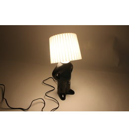Mr. P table lamp in black with white lamp shade and exciting light switch