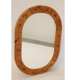 Grote brutalistische spiegel grenenhout