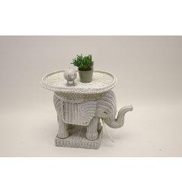 White rattan elephant side table