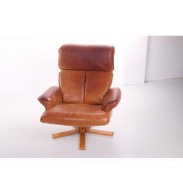 Scandinavian sheep leather swivel armchair
