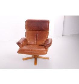 Scandinavische schaapsleren draai fauteuil