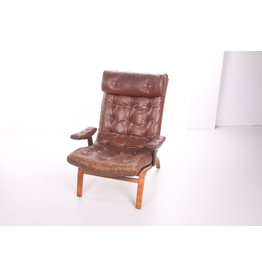 Brown Leather Lounge Chair from Göte Möbler, 1960s
