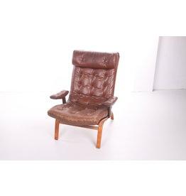 Bruin lederen fauteuil van Göte Möbler, 1960s