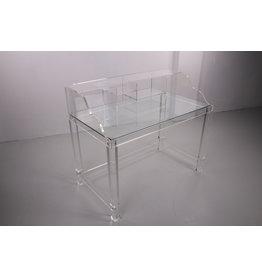 Plexiglas bureau met glazen werblad 1980s