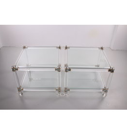 Italiaanse Plexiglass salontafels of bijzettafeltjes van plexiglas met glazen blad Hollywood Regency Style