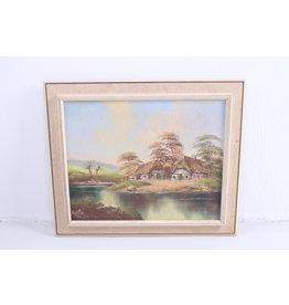 Schilderij 'Boerderij Landschap aan het water'