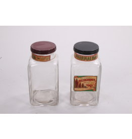 Set Very old glass candy jars with bakelite lid.