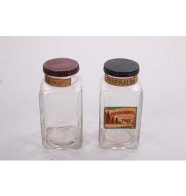 Set Zeer oude glazen snoeppotten met bakelieten deksel.