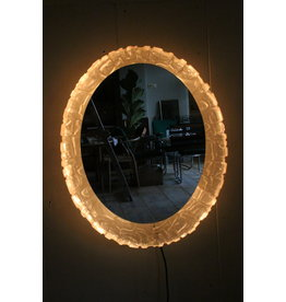 Oval mirror with lighting and plexiglass edge by Hillebrand