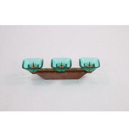 Scandinavische art déco kandelaar met drie glazen kaarsenhouders